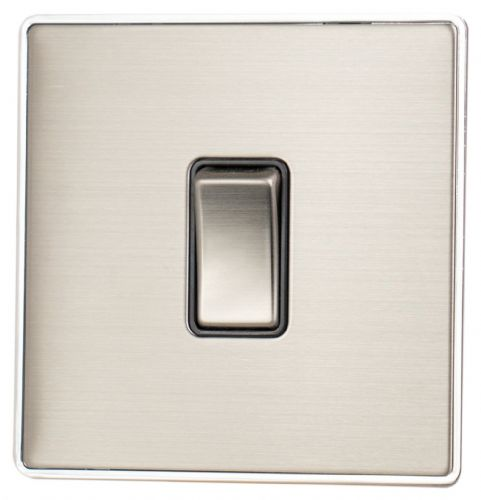 G&H LSS301 Screwless Brushed Steel 1 Gang 1 or 2 Way Rocker Light Switch